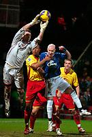 Photo: Ed Godden/Sportsbeat Images.<br /> Watford v Everton. The Barclays Premiership. 24/02/2007.<br /> Watford keeper Richard Lee, denies Everton's Andy Johnson a chance on goal.