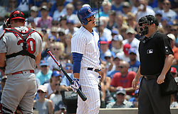 July 21, 2017 - Chicago, IL, USA - The Chicago Cubs' Anthony Rizzo reacts after being called out on strikes in the first inning against the St. Louis Cardinals on Friday, July 21, 2017, at Wrigley Field in Chicago. The Cards won, 11-4. (Credit Image: © John J. Kim/TNS via ZUMA Wire)