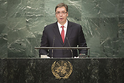 UNITED NATIONS, Sept. 23, 2016 (Xinhua) -- Serbian Prime Minister Aleksandar Vucic addresses the 71st session of United Nations General Assembly on the third day of the general debate at the UN headquarters in New York, the United States, Sept. 22, 2016. (Xinhua/UN Photo/Cia Pak)(zcc) (Credit Image: © Un /Cia Pak/Xinhua via ZUMA Wire)