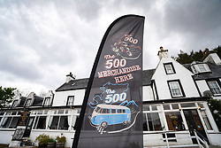 Sign for North coast 500 at Lochcarron Hotel on the North Coast 500 tourist motoring route in northern Scotland, UK