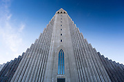 Modern architecture front elevation of Lutheran church Hallgrímskirkja Cathedral in Reykjavik, Iceland designed by Gudjon Samuelsson