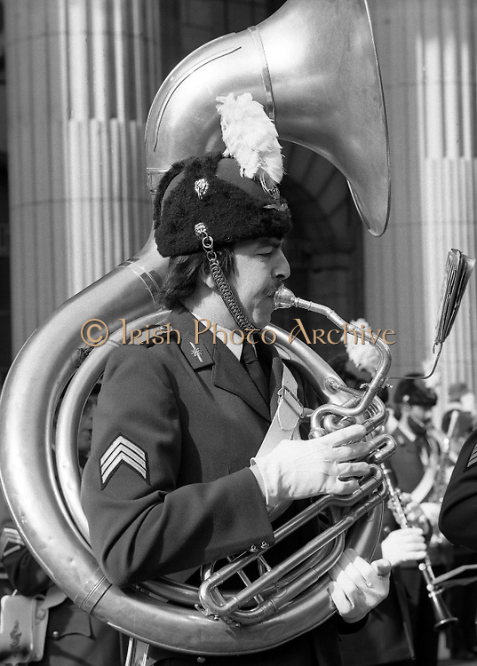 St Patrick's Day Parade.1982.17/03/1982.03.17.1982.17th March 1982..Photograph of an airman from the Netherlands Airforce as he passes the G.P.O. in O'Connell St.