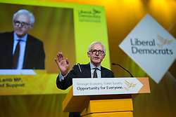 © Licensed to London News Pictures . 15/03/2015 . Liverpool , UK . NORMAN LAMB delivers his speech to the conference . The Liberal Democrat Party Conference at the Arena and Conference Centre in Liverpool . Photo credit : Joel Goodman/LNP