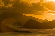 Early morning glare over the mountain tops of the Virgin Islands.