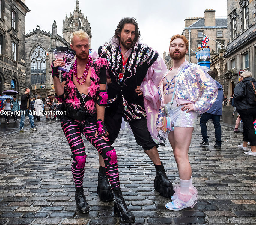 Edinburgh, Scotland, UK; 2 August, 2018. On day before official opening of the Edinburgh Festival Fringe 2018, performers are active on the Royal Mile handing out fliers and meeting the public. Pictured; Sex Shells, queer musical comedy quartet.