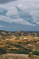 Painted Canyon Panorama. Theodore Roosevelt National Park. Composite of 2 of 9 images taken with a Nikon D3 camera and 85 mm f/2.8 PC-E lens (ISO 200, 85 mm, f/16, 1/40 sec). Raw images processed with Capture One Pro (BM-02 Teton Style). Composite generated with  AutoPano Giga Pro.