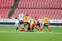 Johannesburg 08-09-18 2nd half. Lions Courtnall Skosan about to be tacked by three Cheetahs players. Rugby Currie Cup match between the Xerox Golden Lions vs Toyota Free State Cheetahs at Emirates Airline Park. Picture: Karen Sandison/African News Agency(ANA)