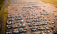 Aerial view of cars in parking lot, Sydney Airport, NSW, Australia