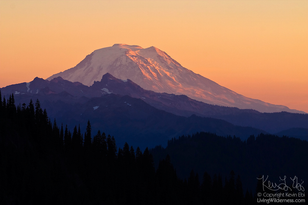 Mount Adams, Washington's second-tallest mountain at 12276 ft. (3742 m), towers above neighboring peaks in this view from Chinook Pass.