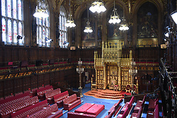 The House of Lords chamber before Queen Elizabeth II delivered a speech from the throne at the Palace of Westminster in London as she outlines the government's legislative programme for the coming session during the State Opening of Parliament. Picture date: Tuesday May 11, 2021.