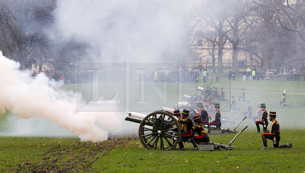 © Licensed to London News Pictures. 06/02/2013. London, UK The King's Troop, Royal Horse Artillery, carry out a 41 gun royal salute to mark the 61st Anniversary of the Accession of Her Majesty The Queen at Green Park in London today (06/02/13). Photo credit : Matt Cetti-Roberts/LNP