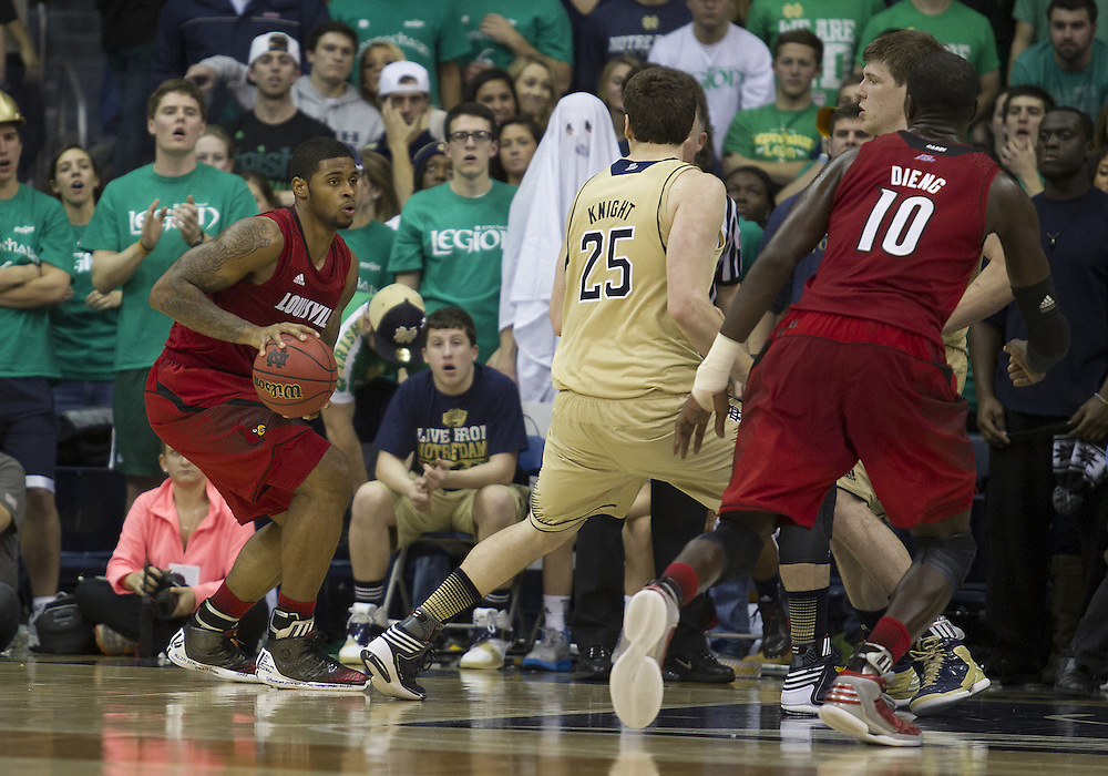 February 09, 2013:  Louisville forward Chane Behanan (21) drives to the basket during NCAA Basketball game action between the Notre Dame Fighting Irish and the Louisville Cardinals at Purcell Pavilion at the Joyce Center in South Bend, Indiana.  Notre Dame defeated Louisville 104-101 in five overtimes.