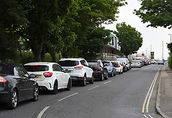 © Licensed to London News Pictures. 30/05/2020. Shoreham by Sea, UK. A long queue of cars for the McDonald's drive-thru at Shoreham by Sea in West Sussex on the first day of opening after lockdown restrictions were relaxed.  Photo credit: Liz Pearce/LNP