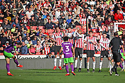 Bristol City midfielder Josh Brownhill crashes this free kick into the Sheffield It'd wall during the EFL Sky Bet Championship match between Sheffield United and Bristol City at Bramall Lane, Sheffield, England on 30 March 2019.