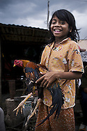 A little Cambodian girl holds a rooster in her arms and laughs in front of the camera, Cambodia, Southeast Asia