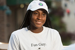 © Licensed to London News Pictures. 01/07/2019. London, UK. Cori Gauff of the United States of America is interviewed after winning her 1st round ladies singles against Venus Williams of United States of America at the Wimbledon Tennis Championships 2019 on day 1 held at the All England Lawn Tennis and Croquet Club.. Photo credit: Ray Tang/LNP