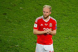 CARDIFF, WALES - Monday, October 9, 2017: Wales' Jonathan Williams reacts at the final whistle during the 2018 FIFA World Cup Qualifying Group D match between Wales and Republic of Ireland at the Cardiff City Stadium. (Pic by Peter Powell/Propaganda)
