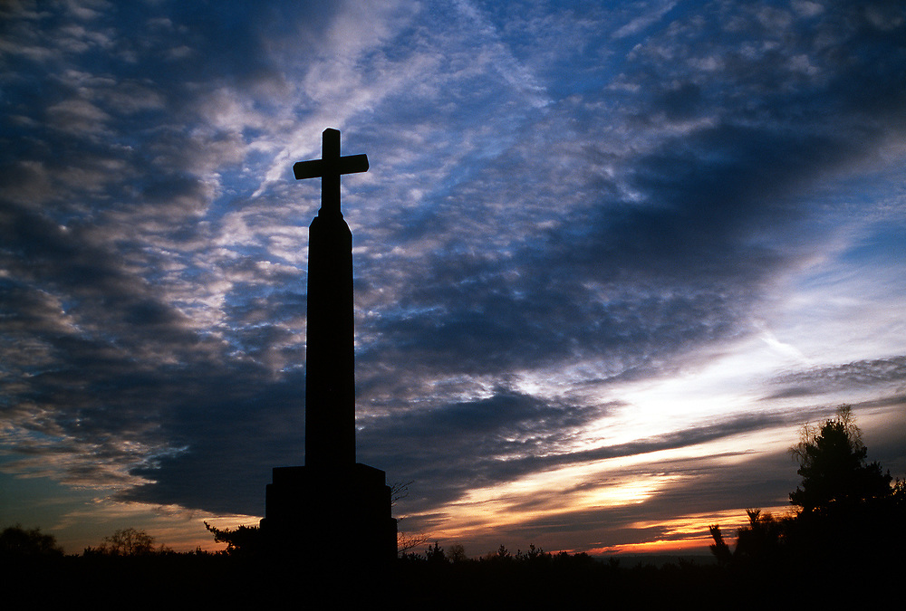 The Blackheath Village War Memorial at sunset.Surrey,UK. Photographed by Terry Fincher