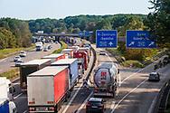 traffic jam on the A4 freeway in the south of Cologne, direction Frankfurt, Cologne, Germany.<br /> <br /> Stau auf der Autobahn A4 im Koelner Sueden Fahrtrichtung Frankfurt, Koeln, Deutschland.