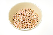 chickpeas (Cicer arietinum) in a bowl on white background