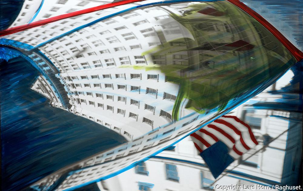 NYC in Colors.  Horn/Andersen<br /> Plaza Hotel in mirrors horisontal  130x200  Kr.   25.000,-<br /> Foto: © Lars Horn / Baghuset<br /> Date : 16.06.13