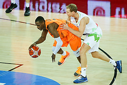 Jaka Blazic of Slovenia and Charlon Kloof of Netherlands during basketball match between Slovenia vs Netherlands at Day 4 in Group C of FIBA Europe Eurobasket 2015, on September 8, 2015, in Arena Zagreb, Croatia. Photo by Matic Klansek Velej / Sportida