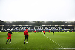 Brentford's players arrive before Derby County's and Brentford's Sky Bet Championship match at Pride Park