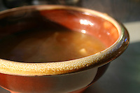 Brown soup dish on kitchen counter<br />