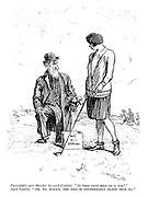 """Formidable new member (to aged caddie). """"Is this your idea of a tee?"""" Aged caddie. """"Oh, no, madam, the idea is considerably older than me."""""""