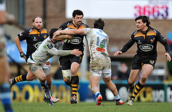 Andrea Masi of Wasps takes on the Castres defence - Photo mandatory by-line: Patrick Khachfe/JMP - Mobile: 07966 386802 14/12/2014 - SPORT - RUGBY UNION - High Wycombe - Adams Park - Wasps v Castres Olympique - European Rugby Champions Cup