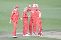 Cricket - 2020 T20 Vitality Blast - Quarter-final - Sussex Sharks vs Lancashire Lightning - County Ground, Hove<br /> <br /> Alex Davies of Lancashire Lightning (17) celebrates with Matt Parkinson.<br /> <br /> COLORSPORT/ASHLEY WESTERN