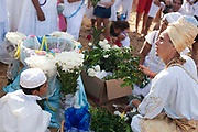 Candomble group in traditional white dress preparing for a public ceremony on the beach. February 2nd is the feast of Yemanja, a Candomble Umbanda religious celebration, where thousands of adherants visit the Rio Vermehlo Red River to make offerings of flowers and prayers, paying their respects to Yemanja, the Orixa goddess of the Sea and water.
