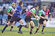 Twickenham, Surrey. UK., 12.01.2002, Quins' Centre Chris Bell, looking to feed, the ball to the wing, during the, Harlequins vs Bridgend, Heineken Cup Rugby match at the Stoop Memorial Ground, [Mandatory Credit: Peter Spurrier/Intersport Images],