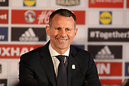 Ryan Giggs is pictured speaking to the media at the Press conference announcing Ryan Giggs as the new manager of the Wales football team at Hensol Castle in Hensol, near Cardiff , South Wales on Monday 15th January 2018 .  pic by Andrew Orchard/Andrew Orchard sports photography
