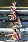 Hazenwinkel, BELGIUM,  Men's Lightweight single Sculls, top to bottom, Matt NEAME, Matt BEECHEY, Richard CHAMBERS, Zac PURCAHSE, Rob WILLIAMS and Bob HEWITT,  move away from the start pontoon in the Sunday afternoon semi final, at the GB Rowing Senior Trials, on Sun,15.04.2007  [Credit, Peter Spurrier/Intersport-images]   [Mandatory Credit, Peter Spurier/ Intersport Images]. , Rowing Course, Bloso, Hazewinkel. BELGUIM