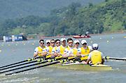 Chungju, South Korea,  AUS M8+. Ned KINNEAR (b) , Cameron BREWER (2) , Angus MOORE (3) , Alexander HILL (4) , George ELLIS (5) , Scott LAIDLER (6) , Brendan MURRAY (7) , Tom GATTI (s) , David WEBSTER (c) 2013 FISA World Rowing Championships,  at the Tangeum Lake International Regatta Course. 14:02:12  Monday  26/08/2013 [Mandatory Credit. Peter Spurrier/Intersport Images]