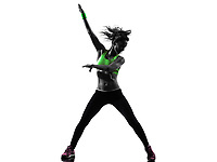 one african man exercising fitness zumba dancing in silhouette on white background