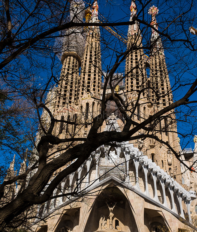 Sagrada Familia, Barcelona is a massive unfinished church, designed by Antoni Gaudi, in central Barcelona. The building was started in 1882, but when this photograph was made in March 2018, with forcastes for completion set around 2030.
