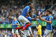 Portsmouth Players Celebrate after an own goal makes it 2-0 during the EFL Sky Bet League 1 match between Portsmouth and Oxford United at Fratton Park, Portsmouth, England on 18 August 2018.