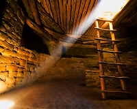 """""""Kiva and Ladder"""" - Mesa Verde National Park, Colorado<br /> <br /> Sunlight shines down inside a kiva at Mesa Verde National Park in Colorado in this photograph from August of 2008"""