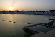 India, Rajasthan, Pushkar, The holy Brahman lake at sunset