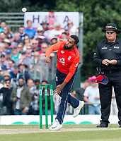 EDINBURGH, SCOTLAND - JUNE 10: England  spinner, Adil Rashid, bowls the first innings of the one-off ODI at the Grange Cricket Club on June 10, 2018 in Edinburgh, Scotland. (Photo by MB Media/Getty Images)
