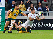 England centre Joe Marchant looks to offload during the World Rugby U20 Championship  match England U20 -V- Australia U20 at The AJ Bell Stadium, Salford, Greater Manchester, England on June  15  2016, (Steve Flynn/Image of Sport)