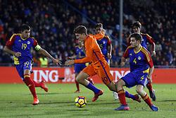 (L-R), Aleix Viladot of Jong Andorra, Guus Til of Jong Oranje, Claudi Bove of Jong Andorra during the EURO U21 2017 qualifying match between Netherlands U21 and Andorra U21 at the Vijverberg stadium on November 10, 2017 in Doetinchem, The Netherlands