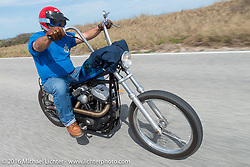 Roy Kawahara riding Highway A1A along the coast during Daytona Bike Week 75th Anniversary event. FL, USA. Thursday March 3, 2016.  Photography ©2016 Michael Lichter.