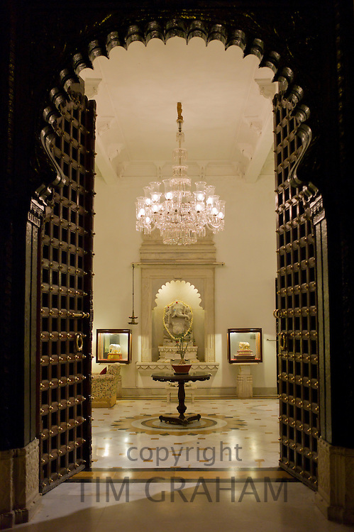 The Shiv Niwas Palace Hotel doorway and lobby, part of HRH Hotels Group, in the City Palace Complex in Udaipur, Rajasthan, India