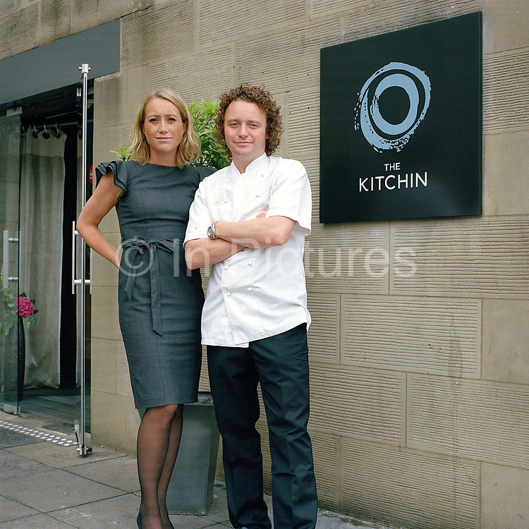 Portrait of Michaela and Tom Kitchin at The Kitchin, Leith, Edinburgh, Scotland. Tom and Michaela Kitchin opened their restaurant, The Kitchin on Edinburgh's Leith waterfront in 2006. The Kitchin presents modern British seasonal cuisine influenced by French cooking techniques and an appreciation of the best quality ingredients available from Scotland's natural larder.