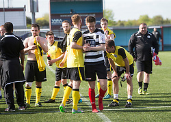 East Stirling's Chris Townsley congrats the City players. Edinburgh City became the first club to be promoted to Scottish League Two. East Stirling 0 v 1 Edinburgh City, League play-off game.