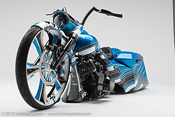 A blue custom bagger built from a 2010 Harley-Davidson Road King by Shane Phillips of Camtech Custom Baggers in Summerville, SC. Photographed by Michael Lichter during the Easyriders Bike Show in Columbus, OH on February 18, 2016. ©2016 Michael Lichter.