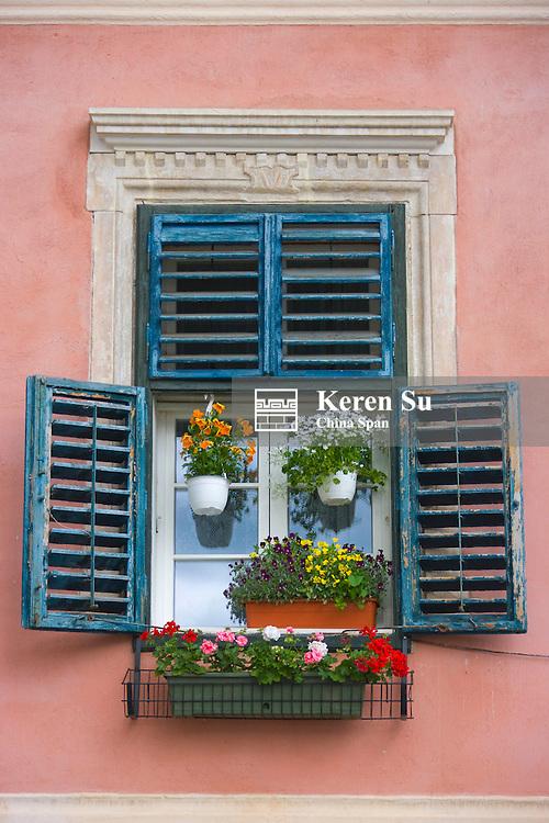 Window decorated by flowers, Sibiu, Romania